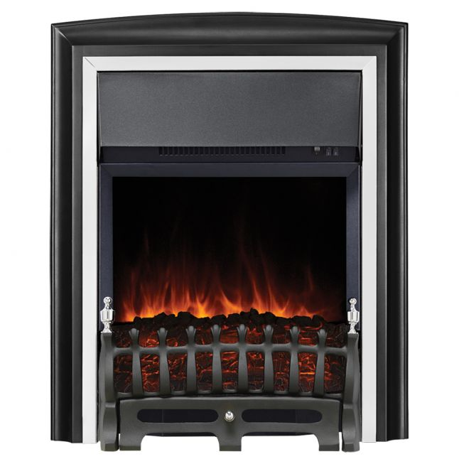 Clara Lydney Black and Chrome LED Electric Fire