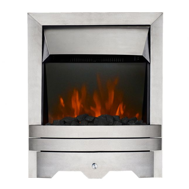 Clara Kinloch Brushed Steel Real Coal LED Electric Fire