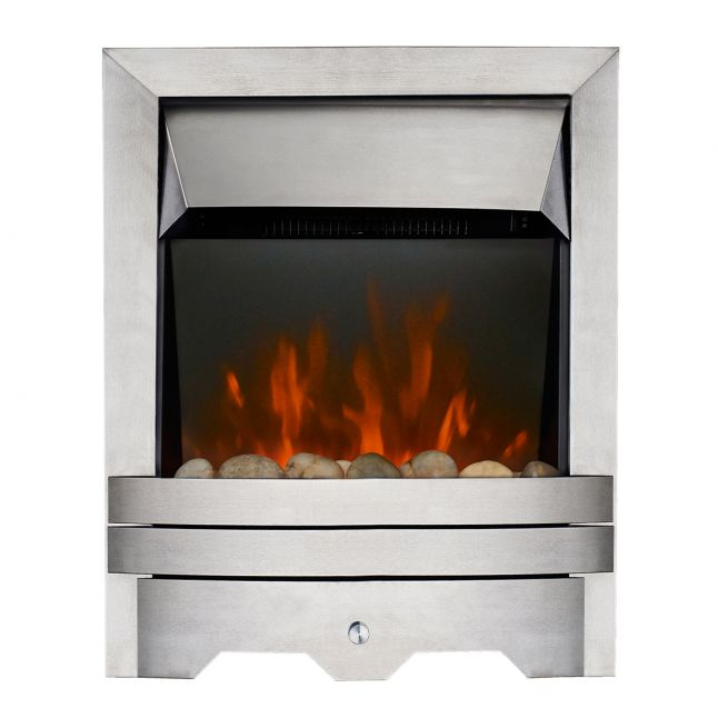 Clara Kinloch Brushed Steel Real Pebble LED Electric Fire