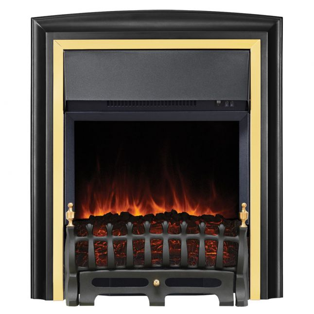 Clara Lydney Black and Brass LED Electric Fire