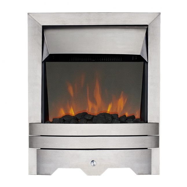 Londra Kinloch Brushed Steel Real Coal LED Reflections Electric Fire