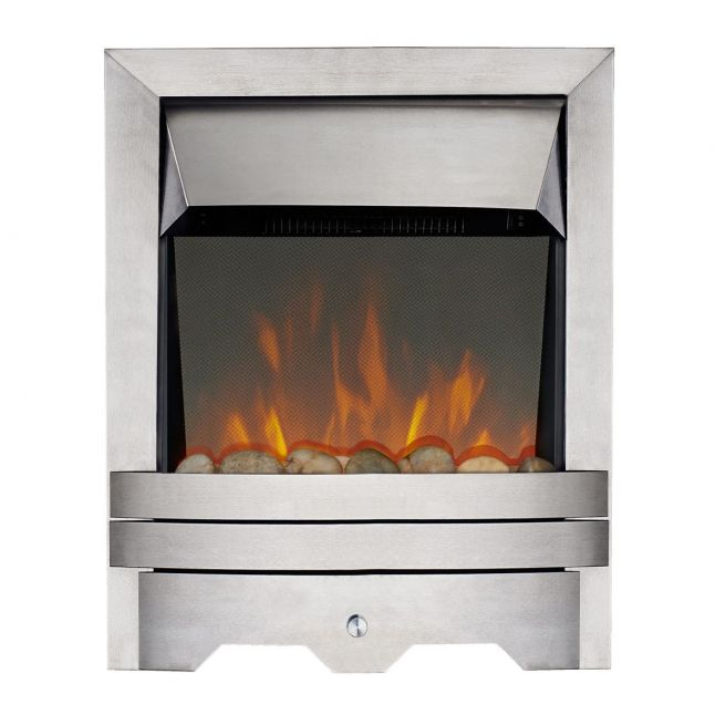 Londra Kinloch Brushed Steel Real Pebble LED Reflections Electric Fire