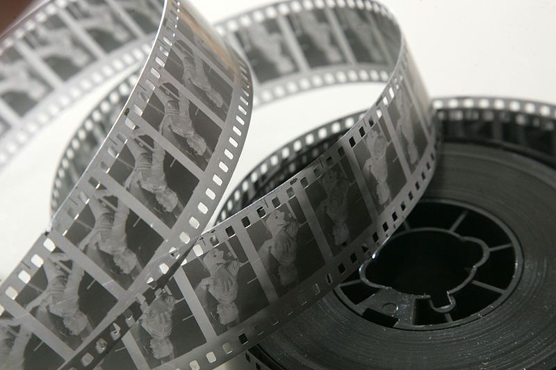 Black and white movie reel of a film featuring LED fireplaces