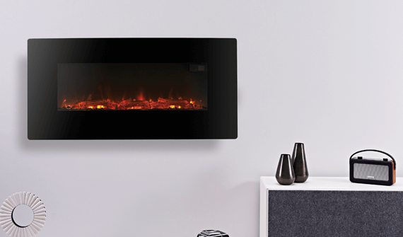 Wall mounted fireplace, one of the electric heating solutions offered by Superior Fires