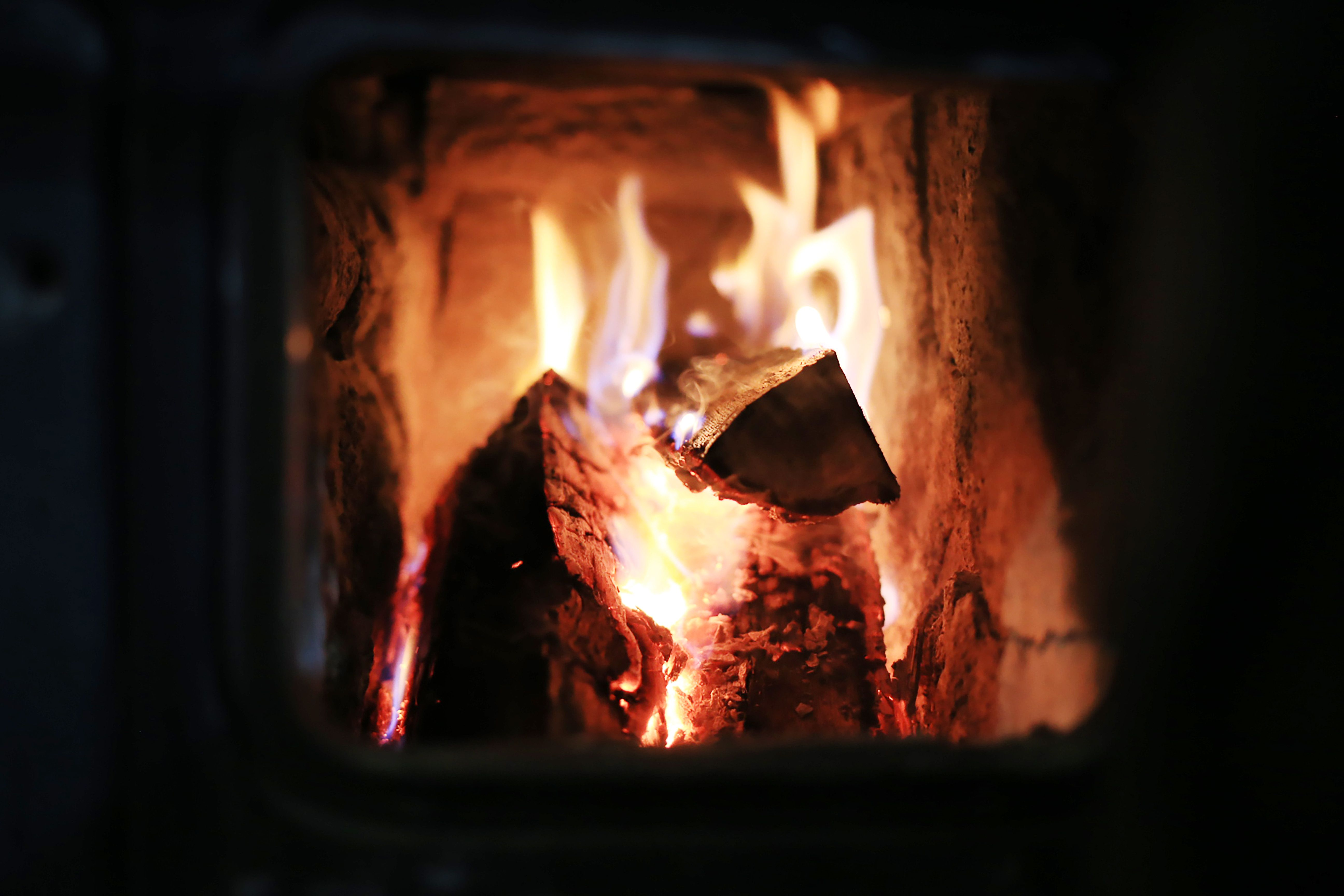 A winter fire burning in the fireplace
