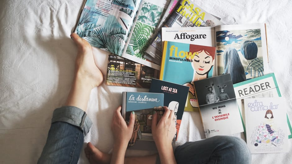 magazines in a bedroom